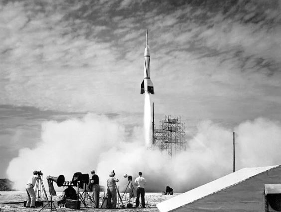 The First Cape Canaveral Launch Photograph