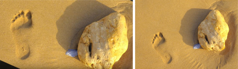 footprint and rock - comparison image