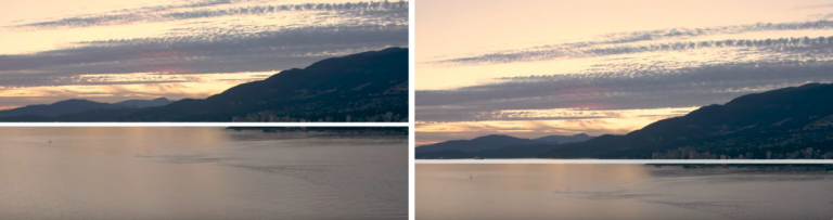 two pictures of mountains and sea - compared