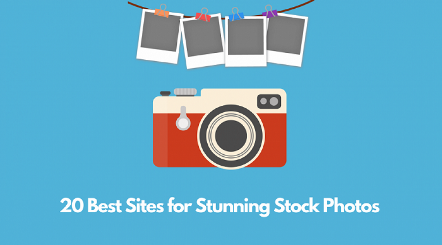 Camera with photos and text saying 20 Best Sites for Stunning Stock Photos