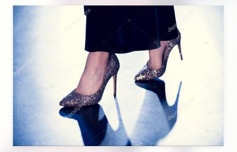 sparkling silver heels worn by a girl