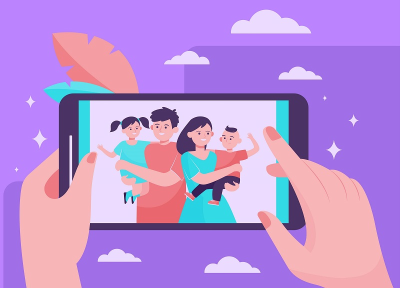 picture being taken of family on smartphone